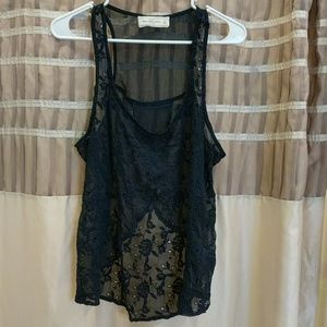 Abercrombie & Fitch sheer navy blue lace top